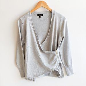 Thalia Sodi Metallic Wrap Sweater